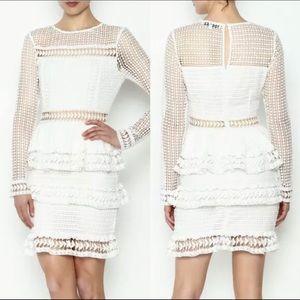 Endless Rose Crochet Ruffle Long Sleeve Dress